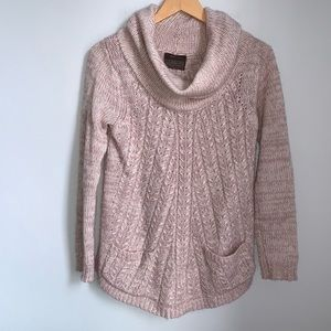 Angel Of the North Blush cowl neck sweater